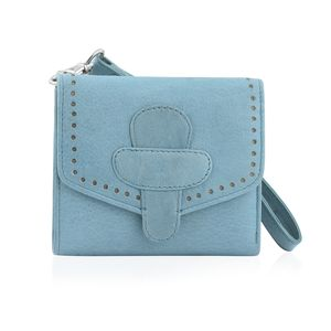 Sea Blue 100% Genuine Leather RFID Wallet with Magnetic Loop Closure (4.25x1.5x5 in)