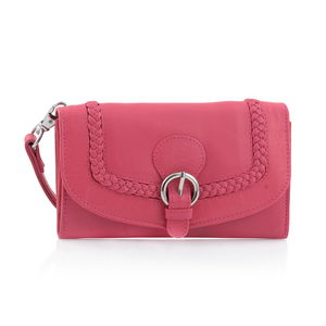 Pink 100% Genuine Leather RFID Wallet with Buckle Flap Closure (6.5x1x4 in)