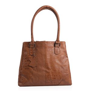 Cognac Croco Embossed 100% Genuine Leather RFID Shoulder Bag (12.75x5x11.25 in)