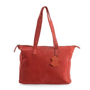Red 100% Genuine Leather Tote Bag (12.75x4x11.25 in) with Detachable RFID Wrislet Clutch (7.5x4.5 in)