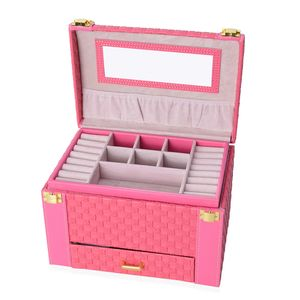 Bubblegum Pink 3-Tier Faux Leather Braided Woven Jewelry Box with Mirror and Handle (9x6x6.25 in)