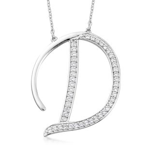 Initial D Necklace Featuring Cambodian White Zircon in Platinum Over Sterling Silver (20 in) TGW 0.90 cts.