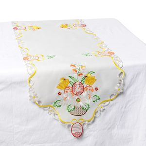 White 100% Polyester Easter Birds Embroidered Table Runner (72x16 in)