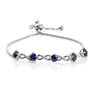 KARIS Collection - Kanchanaburi Blue Sapphire Platinum Bond Brass Magic Ball Bracelet (Adjustable) (9.50 In) TGW 3.32 cts.