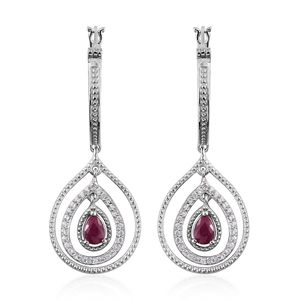 Burmese Ruby, Cambodian Zircon Platinum Over Sterling Silver Earrings TGW 1.50 cts.