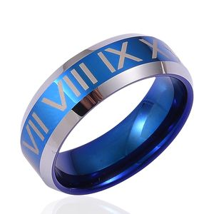 ION Plated Blue and Tungsten Carbide Men's Ring (Size 11.5)