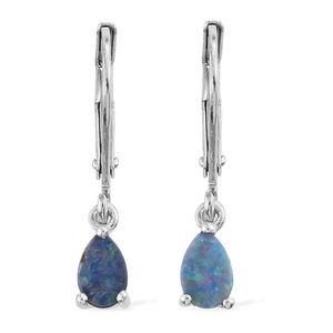 Australian Boulder Opal Sterling Silver Lever Back Earrings TGW 0.75 cts.