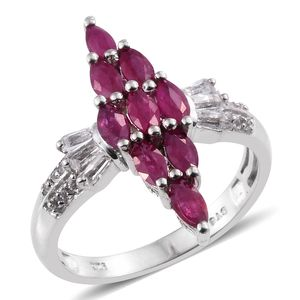 Burmese Ruby, White Topaz Platinum Over Sterling Silver Elongated Ring (Size 7.0) TGW 2.26 cts.