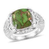 KARIS Collection - Mojave Green Turquoise Platinum Bond Brass Ring (Size 8.0) TGW 6.65 cts.