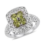 KARIS Collection - Hebei Peridot Platinum Bond Brass Ring (Size 10.0) TGW 1.50 cts.