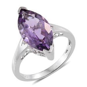 Rose De France Amethyst Platinum Over Sterling Silver Marquise Solitaire Split Ring (Size 7.0) TGW 7.20 cts.