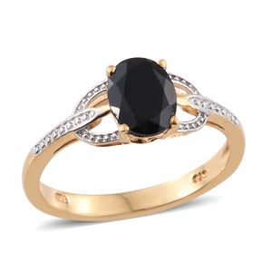 Thai Black Spinel 14K YG and Platinum Over Sterling Silver Ring (Size 7.0) TGW 2.40 cts.