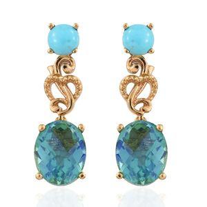 Peacock Quartz, Arizona Sleeping Beauty Turquoise Vermeil YG Over Sterling Silver Drop Earrings TGW 7.46 cts.