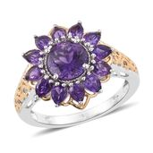Uruguayan Amethyst 14K YG and Platinum Over Sterling Silver Flower Ring (Size 6.0) TGW 3.65 cts.
