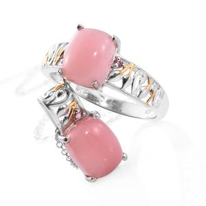 Dan's Jewelry Selections Peruvian Pink Opal, Morro Redondo Pink Tourmaline 14K YG and Platinum Over Sterling Silver Ring (Size 6) and Pendant With Chain (20 in) TGW 4.88 cts.