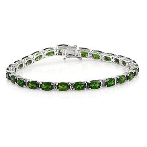 Russian Diopside Platinum Over Sterling Silver Bracelet (7.50 In) TGW 13.40 cts.