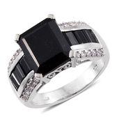 Australian Black Tourmaline, Thai Black Spinel, Cambodian Zircon Platinum Over Sterling Silver Ring (Size 7.0) TGW 8.80 cts.