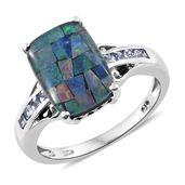 Australian Mosaic Opal, Tanzanite Platinum Over Sterling Silver Ring (Size 7.0) TGW 5.00 cts.