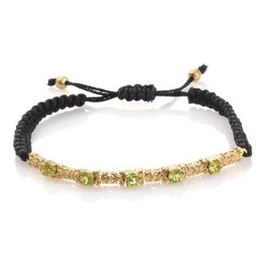 KARIS Collection - Hebei Peridot ION Plated 18K YG Brass Bracelet on Black Cord (Adjustable) TGW 1.52 cts.