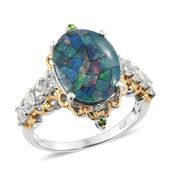 Australian Mosaic Opal, White Topaz, Russian Diopside 14K YG and Platinum Over Sterling Silver Ring (Size 6.0) TGW 6.85 cts.