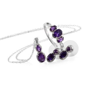 Lusaka Amethyst Platinum Over Sterling Silver Earrings, Ring (Size 7) and Pendant With Stainless Steel Chain (20 in) TGW 3.03 cts.