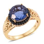 Color Change Fluorite, Thai Black Spinel 14K YG Over Sterling Silver Ring (Size 7.0) TGW 6.53 cts.