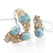 Larimar, Cambodian Zircon 14K YG and Platinum Over Sterling Silver Earrings, Ring (Size 10) and Pendant With Chain (20 in) TGW 7.90 cts.