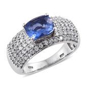 Color Change Fluorite, Cambodian Zircon Platinum Over Sterling Silver Ring (Size 8.0) TGW 3.86 cts.