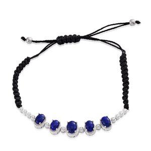 KARIS Collection - Lapis Lazuli Platinum Bond Brass Bracelet on Black Cord (Adjustable) TGW 5.20 cts.