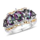 Northern Lights Mystic Topaz, Cambodian Zircon 14K YG and Platinum Over Sterling Silver Ring (Size 9.0) TGW 5.75 cts.