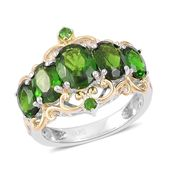 Russian Diopside 14K YG Over and Sterling Silver Ring (Size 10.0) TGW 3.88 cts.