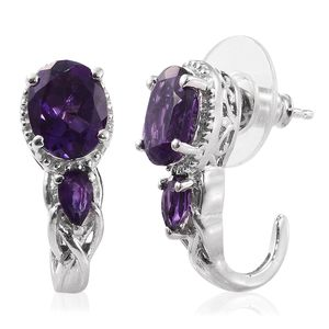 Lusaka Amethyst Platinum Over Sterling Silver J-Hoop Earrings TGW 3.70 cts.