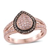 Natural Pink and Champagne Diamond Vermeil RG Over Sterling Silver Ring (Size 7.0) TDiaWt 0.75 cts, TGW 0.75 cts.