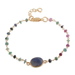 Madagascar Blue Sapphire, Multi Sapphire 14K YG Over Sterling Silver Bracelet (7.00 In) TGW 2.65 cts.