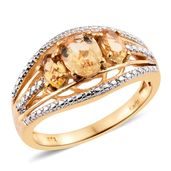 KARIS Collection - Brazilian Citrine ION Plated 18K YG Brass Trilogy Split Shank Ring (Size 7.0) TGW 2.03 cts.