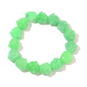 Burmese Green Jade Carved Buddha Bracelet (Stretchable) TGW 220.50 cts.