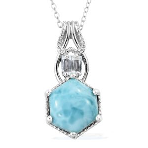 Larimar, White Topaz Platinum Over Sterling Silver Hexagon Pendant With Chain (20 in) TGW 5.32 cts.