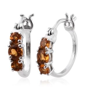 Serra Gaucha Citrine Platinum Over Sterling Silver Hoop Earrings TGW 0.88 cts.
