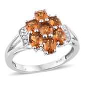 Serra Gaucha Citrine, Cambodian Zircon Platinum Over Sterling Silver Ring (Size 8.0) TGW 2.33 cts.