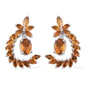Serra Gaucha Citrine, Brazilian Citrine, Cambodian Zircon Platinum Over Sterling Silver Earrings TGW 4.18 cts.
