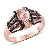 Marropino Morganite, Thai Black Spinel, White Topaz Vermeil RG Over Sterling Silver Ring (Size 10.0) TGW 2.36 cts.
