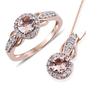 Marropino Morganite, Cambodian Zircon Vermeil RG Over Sterling Silver Ring (Size 5) and Pendant With Chain (20 in) TGW 2.11 cts.