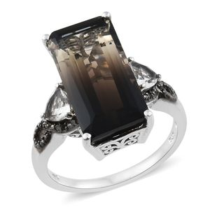 Amazon Quartz, Thai Black Spinel, White Topaz Platinum Over Sterling Silver Elongated Ring (Size 7.0) TGW 12.01 cts.