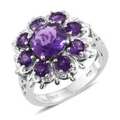 Lusaka Amethyst Platinum Over Sterling Silver Flower Ring (Size 7.0) TGW 4.40 cts.