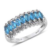 Malagasy Neon Apatite, Cambodian Zircon Platinum Over Sterling Silver Ring (Size 5.0) TGW 1.63 cts.