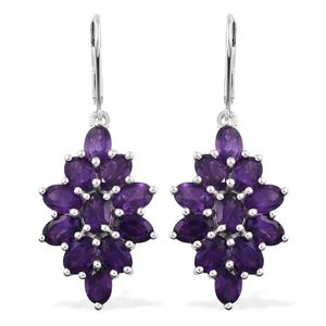 One Time Only Lusaka Amethyst Platinum Over Sterling Silver Earrings TGW 9.70 cts.