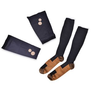 Black Unisex Anti-Fatigue Copper Compression Socks with Knee and Elbow Sleeve (XL)