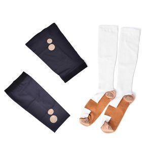 White Unisex Anti-Fatigue Copper Compression Socks with Knee and Elbow Sleeve (XL)
