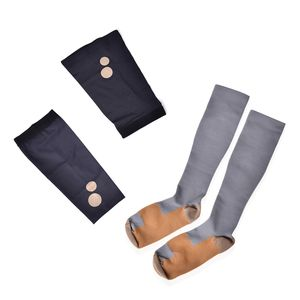 Gray Unisex Anti-Fatigue Copper Compression Socks with Knee and Elbow Sleeve (S)