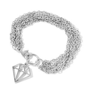 Stainless Steel Multi Strand Bracelet with Diamond Charm (8.00 In)